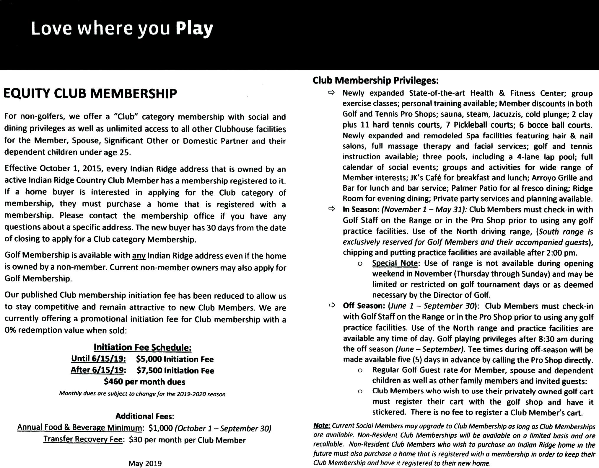 IRCC Equity Club Membership