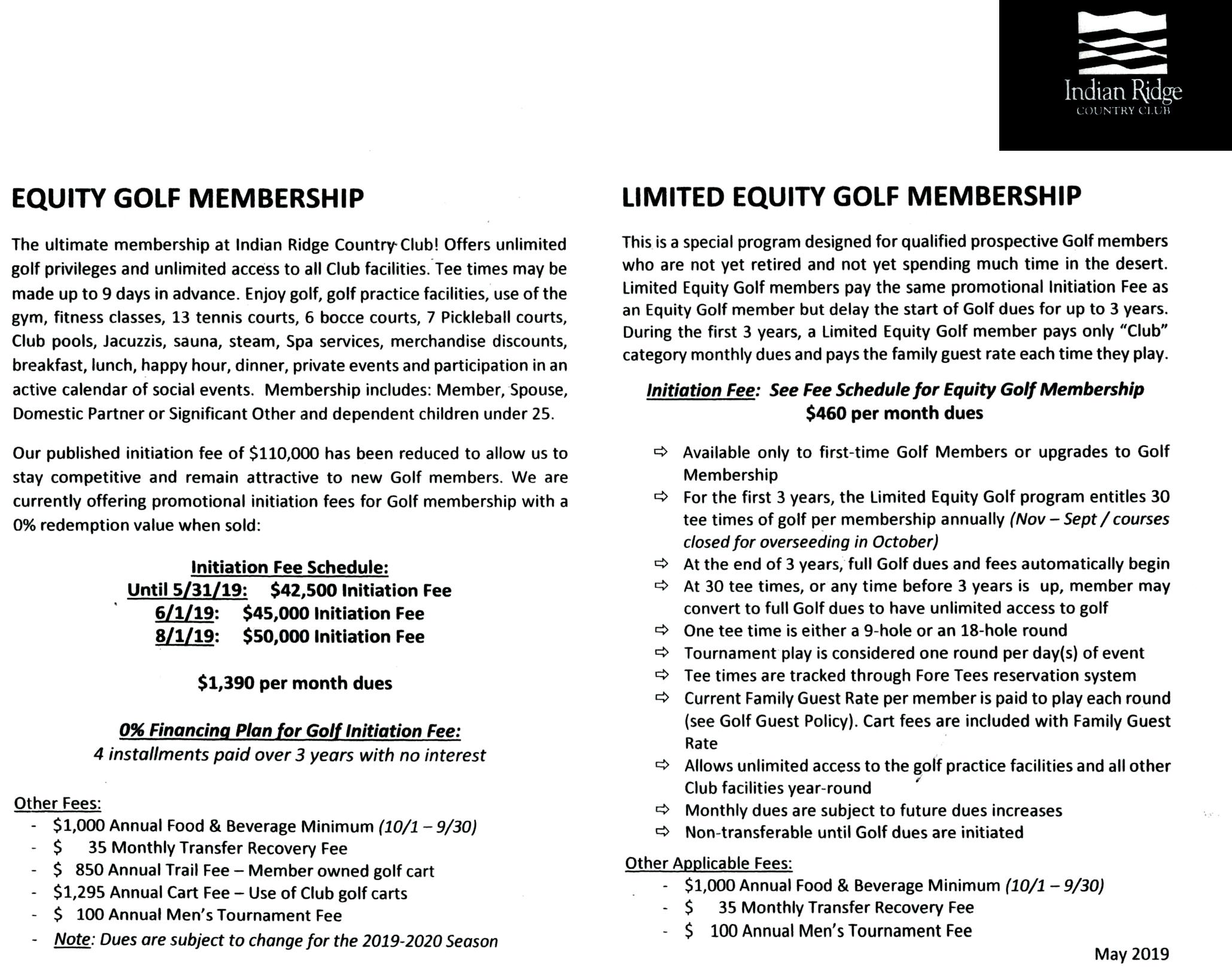 IRCC Golf Equity Membership