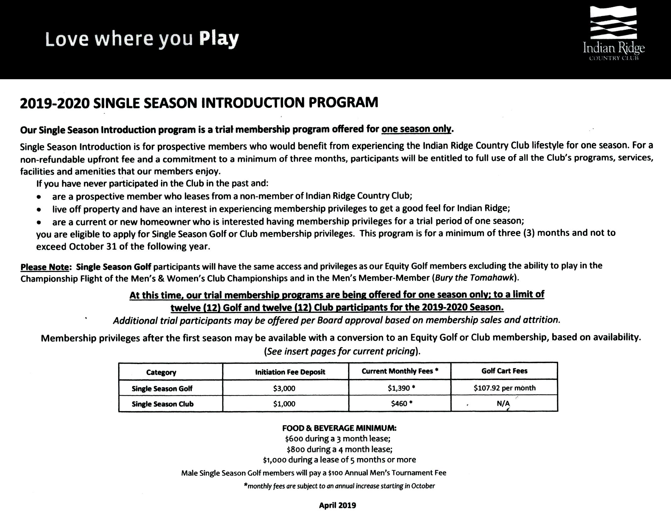 IRCC Single Season Introduction Program